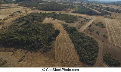 Top view of giant field in arrow shape - Aerial view of...