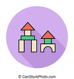 Building block icon. Flat vector related icon whit long...