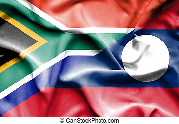 Waving flag of Laos and South Africa