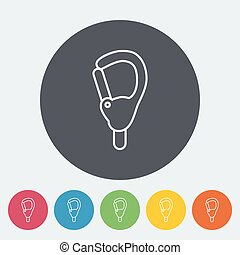 Carabiner icon Thin line flat vector related icon for web...