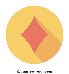 Card suit - Diamonds suit Flat vector icon for mobile and...