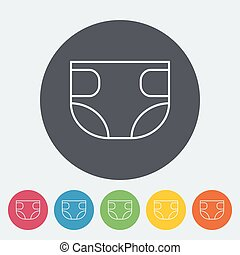 Diaper icon. Thin line flat vector related icon for web and...