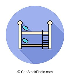 Bunk bed icon Flat vector related icon whit long shadow for...
