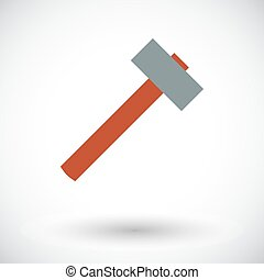 Hammer Flat vector icon for mobile and web applications...