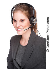 Female callcenter employee - Full isolated studio picture...