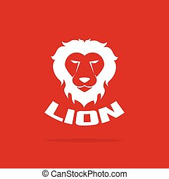 Vector images of lion head design on red background