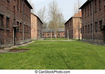 German concentration camp in Oswiecim, Poland - Buildings in...