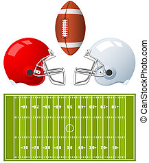 American Football Helmets - Two sport Helmets and field for...