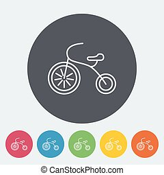 Tricycle icon. Thin line flat vector related icon for web...