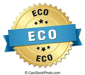 eco 3d gold badge with blue ribbon
