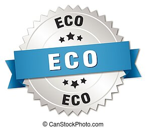 eco 3d silver badge with blue ribbon