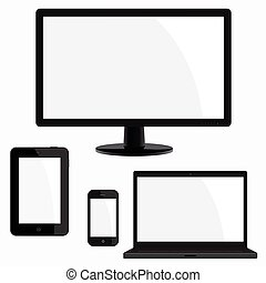 Electronic device illustration set, with blank screen, on...