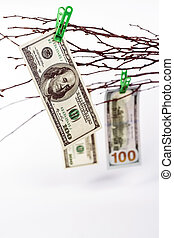 tree with paper money - dollars banknotes