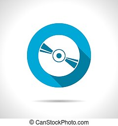 Compact disc icon - Vector flat compact disc icon on color...