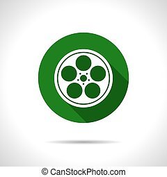 Bobbin icon - Vector flat retro bobbin icon on color circle...