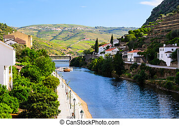 river Douro valley, Portugal - vineyard hills in the river...