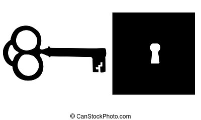 Skeleton Key and Keyhole Silhouette isolated on a white...