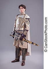 Medieval Knight - Medieval knight in armor with a sword