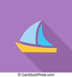 Yacht. - Yacht icon. Flat vector related icon with long...