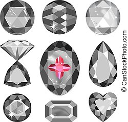 Set of greyscale gems - Set of greyscale, black and red gems...