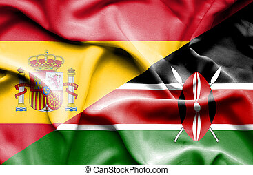 Waving flag of Kenya and Spain