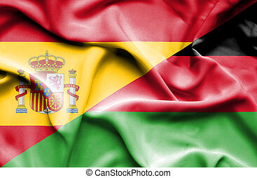 Waving flag of Malawi and Spain