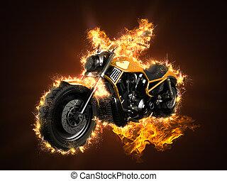 luxury chopper motorbike in fire