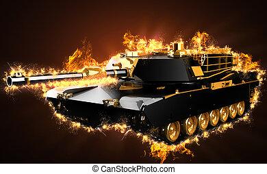 futuristic tank in fire