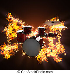 drum set in fire