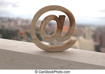 3D, en, en, Un, oxidado, superficie,