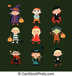 Children in Halloween costumes vector illustration of...
