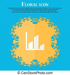 Chart. Floral flat design on a blue abstract background with place for your text. Vector