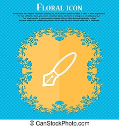 Pen. Floral flat design on a blue abstract background with place for your text. Vector