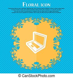 Laptop. Floral flat design on a blue abstract background with place for your text. Vector