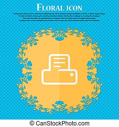 Printing. Floral flat design on a blue abstract background with place for your text. Vector
