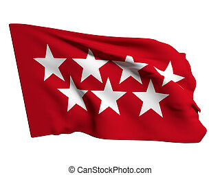 Madrid flag - 3d rendering of a community of Madrid flag on...