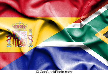 Waving flag of South Africa and Spain