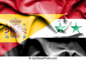 Waving flag of Syria and Spain