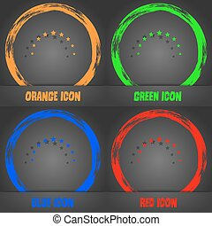 Star sign icon. Favorite button. Navigation symbol. Fashionable modern style. In the orange, green, blue, red design. Vector