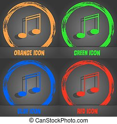 Music note sign icon. Musical symbol. Fashionable modern style. In the orange, green, blue, red design. Vector