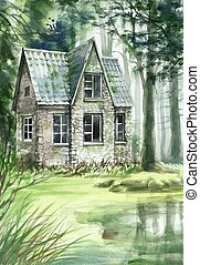 Haunted house in the coniferous forest original watercolor...
