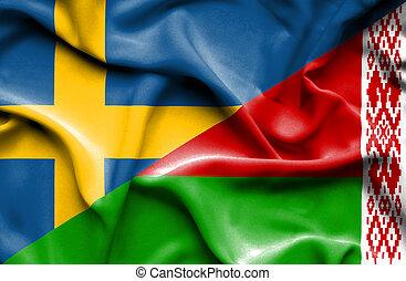 Waving flag of Belarus and Sweden