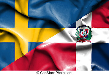 Waving flag of Dominican Republic and Sweden