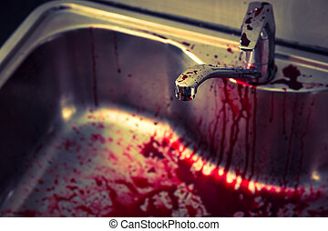 Kitchen sink with blood for halloween Filtered image...
