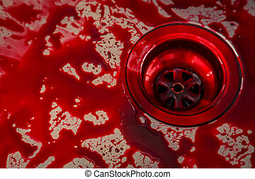Kitchen sink with blood for halloween