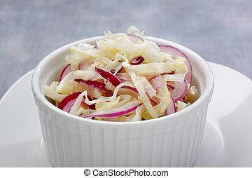 col, cebolla, ensalada, rojo