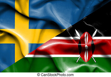Waving flag of Kenya and Sweden