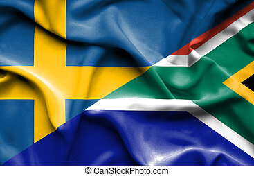 Waving flag of South Africa and Sweden