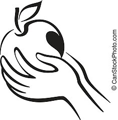 Hands and Apple Icon