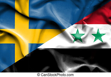 Waving flag of Syria and Sweden